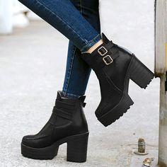 Primavera outono novo áspero dedo botas de tornozelo botas de salto alto Euro feminino estilo britânico botas 34 - 39
