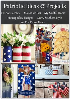 Patriotic Ideas Projects from Memorial to Labor day Projects, tablescape, decor, recipe, hostess gift Patriotic Crafts, Patriotic Party, July Crafts, Fourth Of July, 4th Of July Wreath, Memorial Day, Holiday Fun, Holiday Crafts, Holiday Ideas