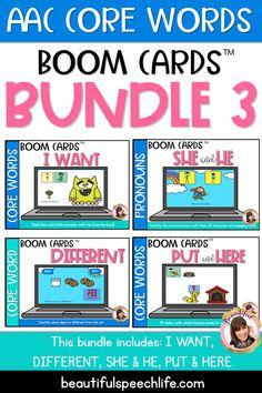 The Part 3 of the starter pack of AAC Core Vocabulary with BOOM Cards! Boom Cards are digital task cards and kids get immediate feedback. They work on an iPad, Chrome Book, Kindle Fire, even your phone! This Bundle includes: I Want, Put/Here, Different,