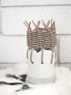 basket pot ceramic and textile
