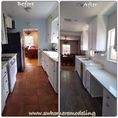 Entire kitchen renovation. Whit cabinets, wood flooring. Supervised ...