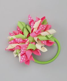 Take a look at this Pink & Green Corker Hair Tie by Couture Hair Bows on #zulily today!