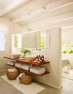 This Bathroom Decor Suggestion makes it really easy to provide your bathroom a f. This Bathroom De Laundry In Bathroom, Bathroom Renos, Master Bathroom, Floating Bathroom Sink, Open Bathroom Vanity, Bathroom Baskets, Bamboo Bathroom, Floating Vanity, Downstairs Bathroom