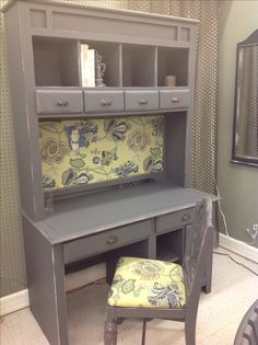 Rethunk Junk furniture paint...slate color Beautiful hutch and desk