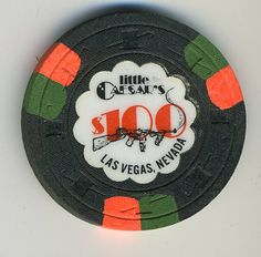 Las Vegas Casino Chip of the Day is a $100 Little Caesars 2nd issue you can order here http://www.all-chips.com/ChipDetail.php?ChipID=12411#.UwDL2s5n0t0  Little Caesars was a little Dive joint with a high limit sports book where the wise guys liked to bet for the big limits.  Some of the casinos would lay off some of their action there too...  The place was in a strip center and is long gone.  I think Paris and Ballys sit on that land now.