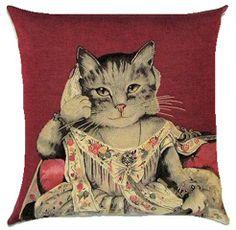 Cat Lady Ann Belgian Tapestry Cushion