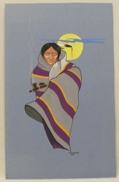 1981 Native American Painting by Woodward Warrior and Pipe kp
