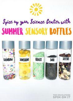 The easist summer sensory bottles for an interactive science center. Great for preschool and kindergarten science. Garden science
