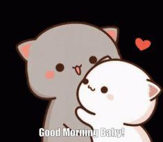 Cute Bunny Cartoon, Cute Kawaii Animals, Cute Cartoon Pictures, Cute Love Cartoons, Cute Love Pictures, Cute Love Gif, Cute Cat Gif, Chibi Cat, Cute Chibi