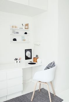 Small corner work space is ideal in a condo - This works nicely bc of the inset wall.  Still allowing you to have ample living space without the work area getting in the way.    It becomes part of the environment.