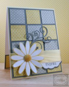Love the yellow and gray color scheme with polka dots!  This is also an easy card sketch to keep in mind for using up scraps.