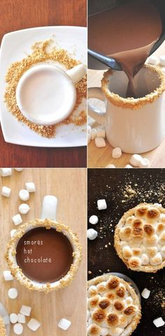S'mores hot chocolate, marshmallows, gram crackers