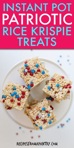 This homemade Instant Pot Rice Krispie Treats recipe is as fun to make as they are to eat! This kid & family loved easy dessert will be the star of your holiday celebration! Make ahead of time with just 4 ingredients, these portable sweet treats are just the thing for bringing to BBQs, potlucks, and picnics. Click through to get this awesome Instant Pot Patriotic Rice Krispie Treats!! #ricekrispietreats #ricekrispie #instantpot #instantpotrecipes #fourthofjuly #july4th #pantry #dessert #sweets Potluck Recipes, Vegan Recipes Easy, Summer Recipes, Dessert Recipes, Drink Recipes, Patriotic Desserts, Easy Desserts, Delicious Desserts, Rice Krispy Treats Recipe