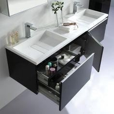 EAGO Badmöbel Milano ME-1600+ (schwarz) Unterschrank 160x45cm inkl. Doppel-Waschbecken und 2x Spiegelschrank/Licht-24346847