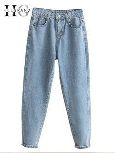 92f6e3bdf54a HEE GRAND 2018 Ankle-Length Mom Jeans Women Autumn Denim Harem Pants Women  Jeans High Waist Jeans Trousers Women Pant WKN583