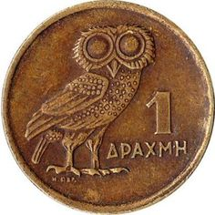 La chouette d'Athènes es un símbolo de la vida Athéna - Pièce de monnaie: 1 drachme. Athena Goddess, Coin Art, Greek History, Gold And Silver Coins, Old Advertisements, Greek Art, World Coins, Athens Greece, Rare Coins
