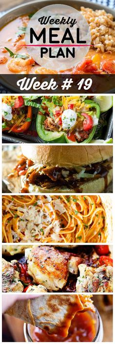 Weekly Meal Plan #19! A meal plan to help you keep things tasty each week, including spicy gumbo, baked bell pepper tacos, sweet pulled pork, and more! | HomemadeHooplah.com
