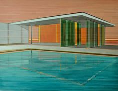 Buy Optical Resonance, a Acrylic on Canvas by Cécile van Hanja from Netherlands. It portrays: Architecture, relevant to: pool, reflections, rooms, villa, building, German Pavilion, architecture, free flowing space, light, lines The free flowing space of the inter-connected rooms defined by plate glass of this villa at dawn give an optical resonance in the light waves of the swimming pool
