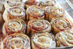 The best Hot Ham and Cheese Pinwheels ever! This is honestly one of the best pinwheel recipes I've ever tried. The brown sugar glaze sends these hot ham roll ups over the top. The perfect pinwheel appetizers! Ham Cheese Rolls, Ham And Cheese Roll Ups, Ham And Cheese Pinwheels, Ham Rolls, Swiss Cheese, Breakfast And Brunch, Finger Food Appetizers, Appetizer Recipes, Cheese Appetizers