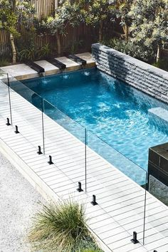 garden pool Indigenous plantings and a coastal aesthetic help blur the boundaries between a new garden and its beachside location. Small Swimming Pools, Luxury Swimming Pools, Small Pools, Swimming Pool Designs, Small Backyards, Glass Pool Fencing, Pool Fence, Glass Fence, Fence Around Pool