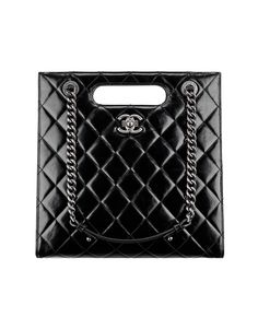 Small shopping bag, calfskin & ruthenium metal-black - CHANEL