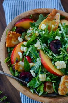 Summer Fruit and Halloumi Salad:  herbs, nectarines, cherries and sweet summer corn and tossed with a simple ginger lime vinaigrette