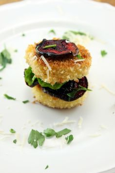 Fried Goat Cheese Stacks with beets- an amuse bouche