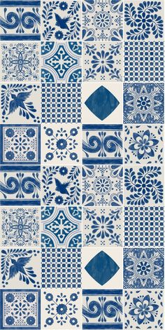 Mexican Mix Wallpaper in Indigoblau Abnehmbare Vinyl Wallpaper - Peel & Stick - . - Mexican Mix Wallpaper in Indigoblau Abnehmbare Vinyl Wallpaper – Peel & Stick – … – Blue Wal - Vinyl Wallpaper, Pattern Wallpaper, Wallpaper Backgrounds, Tile Patterns, Pattern Art, Blue Wallpapers, Tile Art, Islamic Art, Illustration