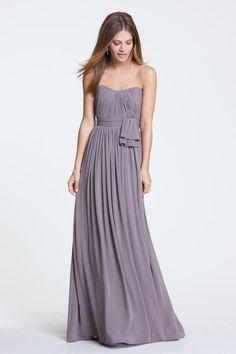 Chiffon Draped Sweetheart A-line Long Bridesmaid Dress with Pleated Bodice