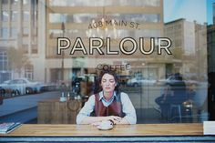 Parlour Coffee / Winnipeg, signage on shop window, window decals, branding, typography Mini Bars, Cafe Restaurant, Restaurant Design, Magazine Kinfolk, Window Signage, Modern Hepburn, Coffee Places, Cafe Shop, Shop Fronts