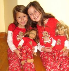 Matching doll and girl pajamas. Fits American Girl dolls.
