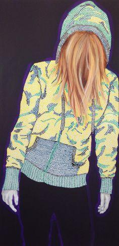 Dotted hoodie 60x120 Akryl on canvas  Lisbeth Sahl
