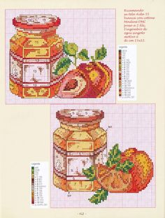 Strawberry and Plum Jam/Preserve Jars Cross-stitch Gallery.ru / Фото #60 - 16 зеленый - Mosca