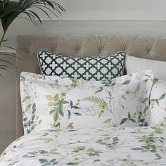 white and greens in the garden bedroom, at Rose cottages and gardens, Britain, [Dorma Botanical Bedroom, Botanical Wallpaper, Botanical Decor, Garden Bedroom, Bedroom Green, Dream Bedroom, Curtains Dunelm, 100 Cotton Duvet Covers, Pleated Curtains
