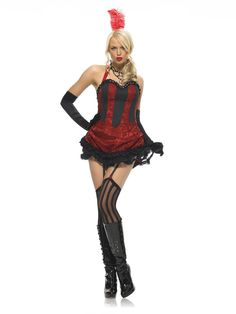 Burlesque Dancer costume includes brocade dress with bustle back bow