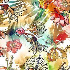 Estampa aquarelada.#watercolor #aquarela #flowers#illustration #draw #drawing #art #handmade #desenho #print #estampa #instaart #fashion #surfacedesign #tropical #pattern #patterns #estampas #drawing2me #painting#printdesigner #surfacespatterns