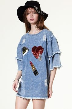 Winky Embellished Denim Dress - All New Arrivals - What's new Discover the latest fashion trends online at storets.com