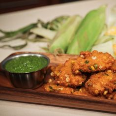 Carla Hall's Corn Fritters with Tomatillo Salsa recipe.  #thechew    # Pin++ for Pinterest #