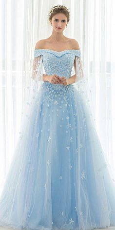 Dress fall in love with In Stock Attractive Tulle Off-the-shoulder Neckline A-line Prom Dress With Beadings & Lace Appliques NEW! In Stock Attractive Tulle Off-the-shoulder Neckline A-line Prom Dress With Beadings & Lace Appliques A Line Prom Dresses, Ball Dresses, Ball Gowns, Blue Wedding Dresses, Wedding Outfits, Elegant Dresses, Pretty Dresses, Formal Dresses, Tulle Dress