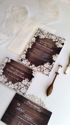 Wood Wedding Invitation  Rustic Wood Effect by DesignedWithAmore