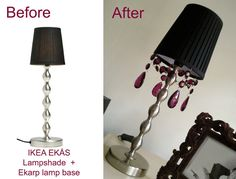 Materials: Ekas Lamp Shades  Description: I have 2 lamps with Ekas lamp shades - one in white and another black.  I purchsed some glass chandelier glass
