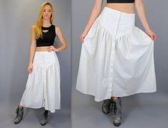 "Vintage 80s High Waisted White Drop V Yoke Waistband Long Full Gathered Midi Cowgirl Maxi Skirt Button Front Prairie Western 28"" Waist Small Medium by BlueFridayVintage"