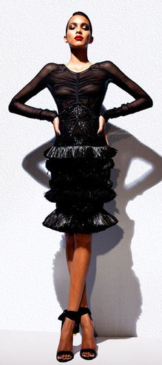 d12d3e66c21 Tom Ford Runway One-of-a-Kind Black Silk Dress Sequence Ostrich Straw  Ruffles 40