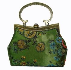 Colorful Beaded Flower & Leaves Vintage Evening Bag