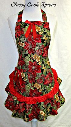 Aprons Christmas Poinsettia Red  Green with Gold Accents, Red Chiffon Ruffle by ClassyCookAprons, $38.50