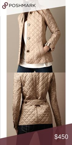 Authentic Burberry Brit Tan Quilted Women's Coat Size Medium Burberry Jackets & Coats Utility Jackets