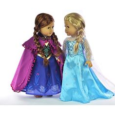 Ebuddy ® Elsa and Anna Sparkle Princess Dress for 18 inch doll clothes fits American Girl $40 for Both. No Crazy Prices for Frozen Princess Dresses.