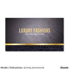 Metallic / Gold and Leather Trim Standard Business Card #luxurybrands #luxuryfashions #fashion #businesscards #leather #goldlining #metalicbrush