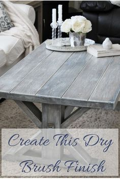 Step by step tutorial on how to create this beautiful dry brush finish. Perfect for a beach cottage or rustic farmhouse!