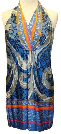 Analili : V-Neck Blue Multicolor Print Dress